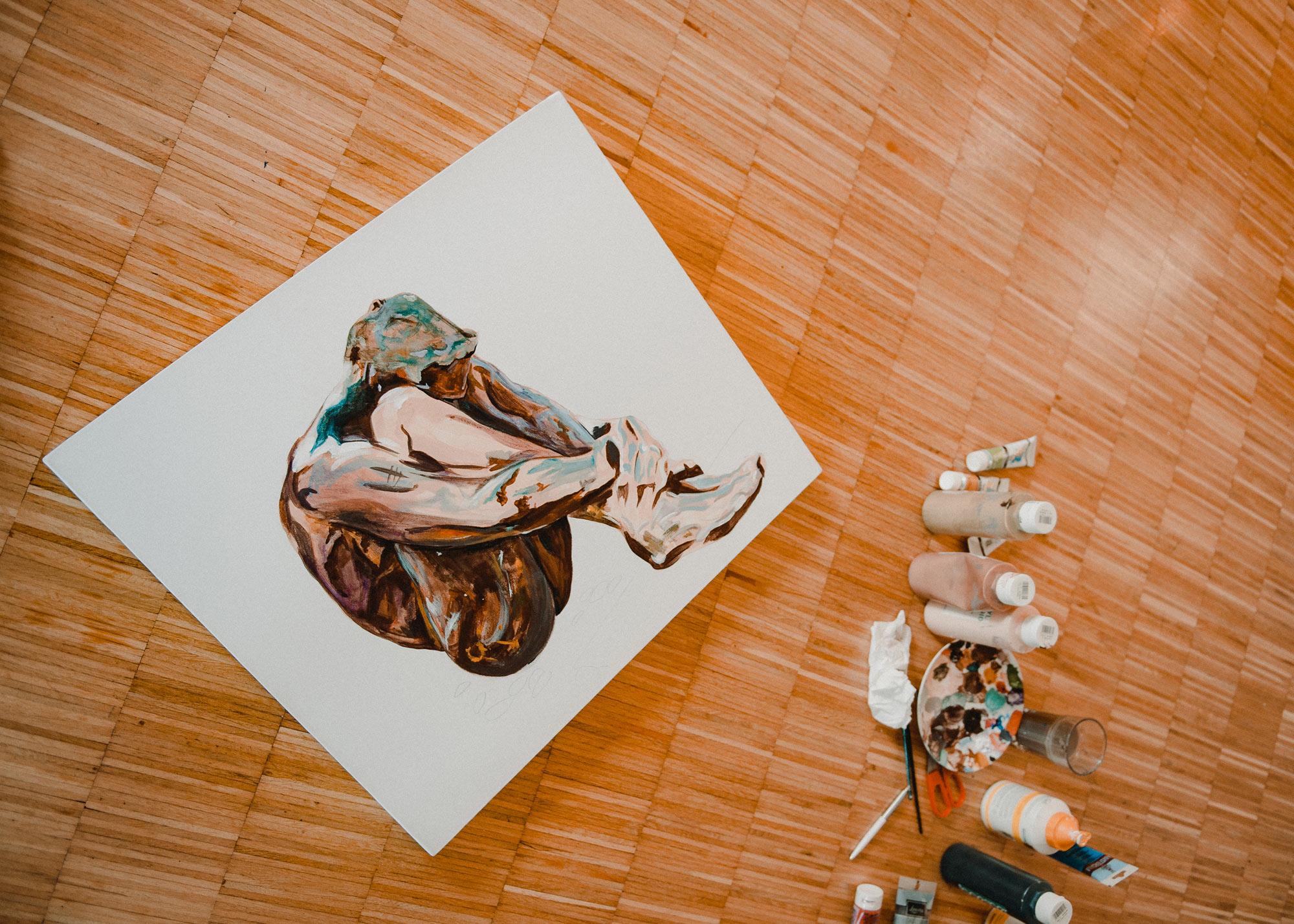 Fotodokumentation der Motiventstehung. Leinwand, Pinseln und Farben