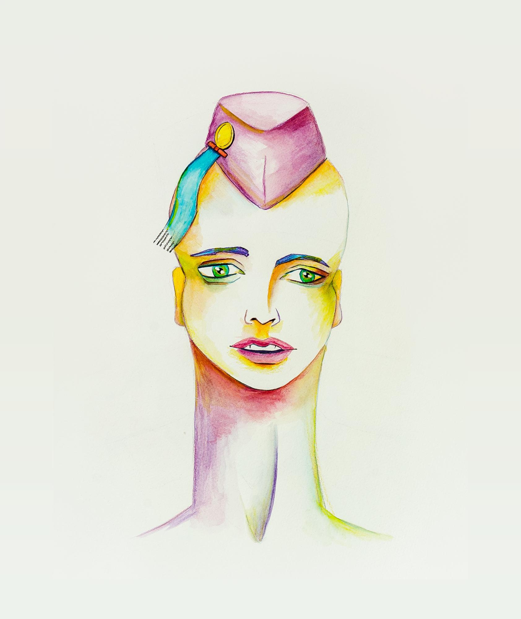 Porträt mit langem Hals