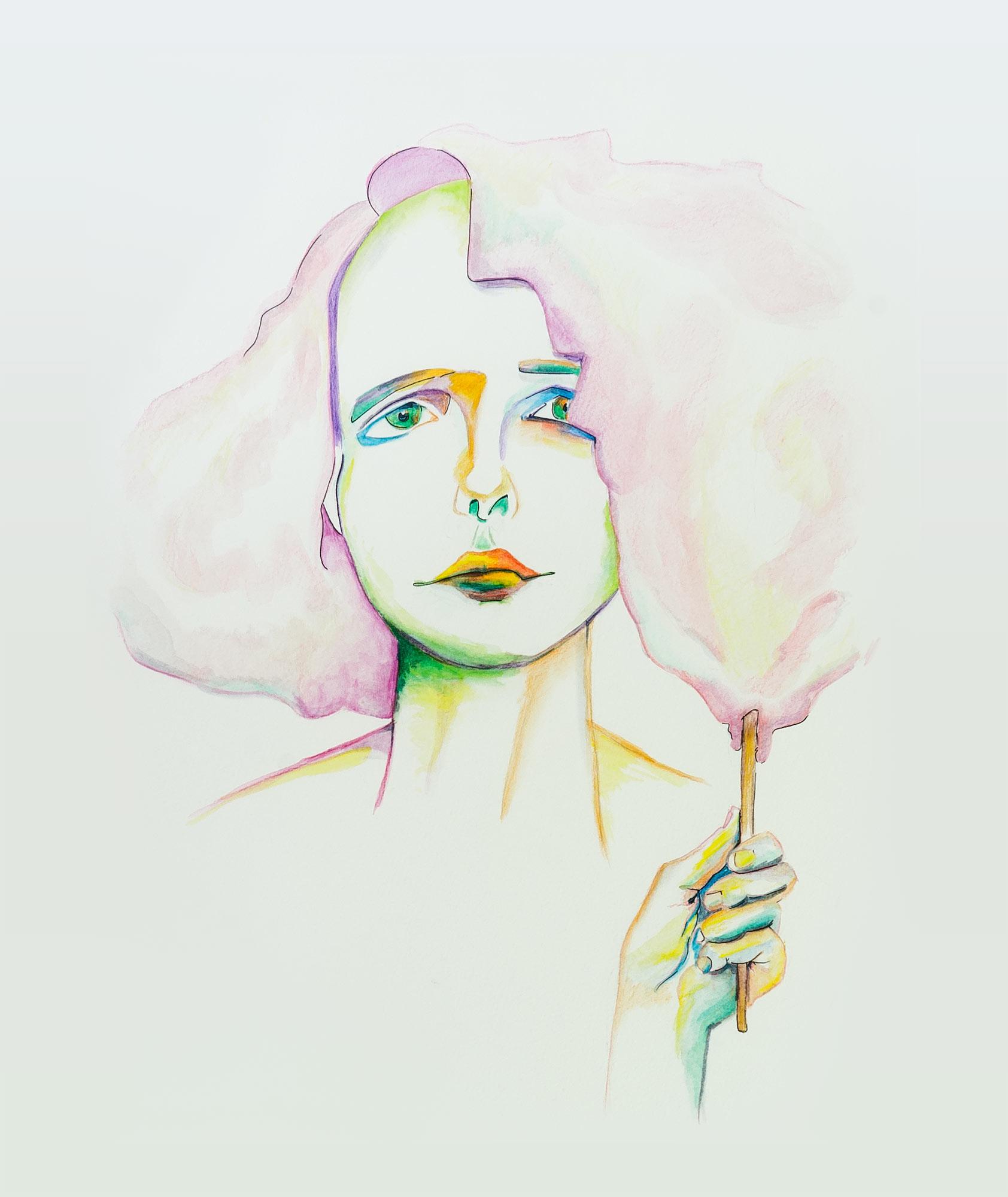 Porträt mit Zuckerwatte-Haaren