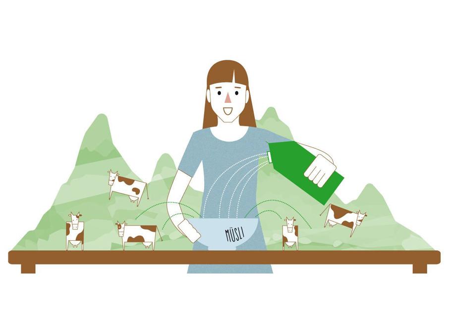 Frau schenkt sich Milch in eine Müslischale ein
