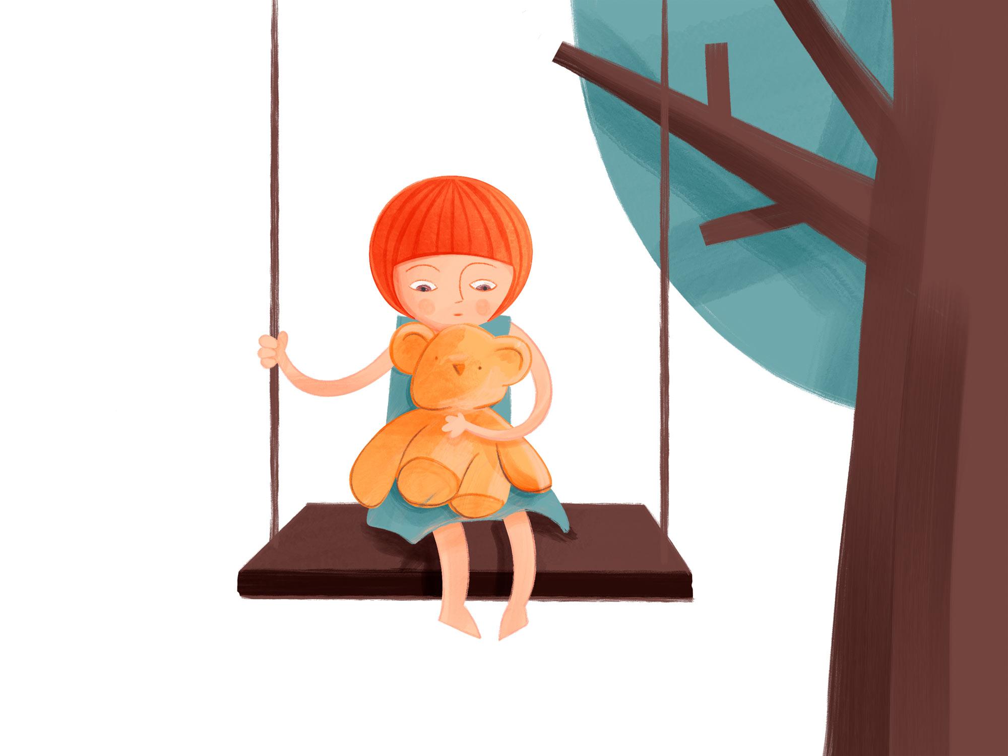 Kind sitzt auf einer Schaukel mit einem Teddy auf dem Arm