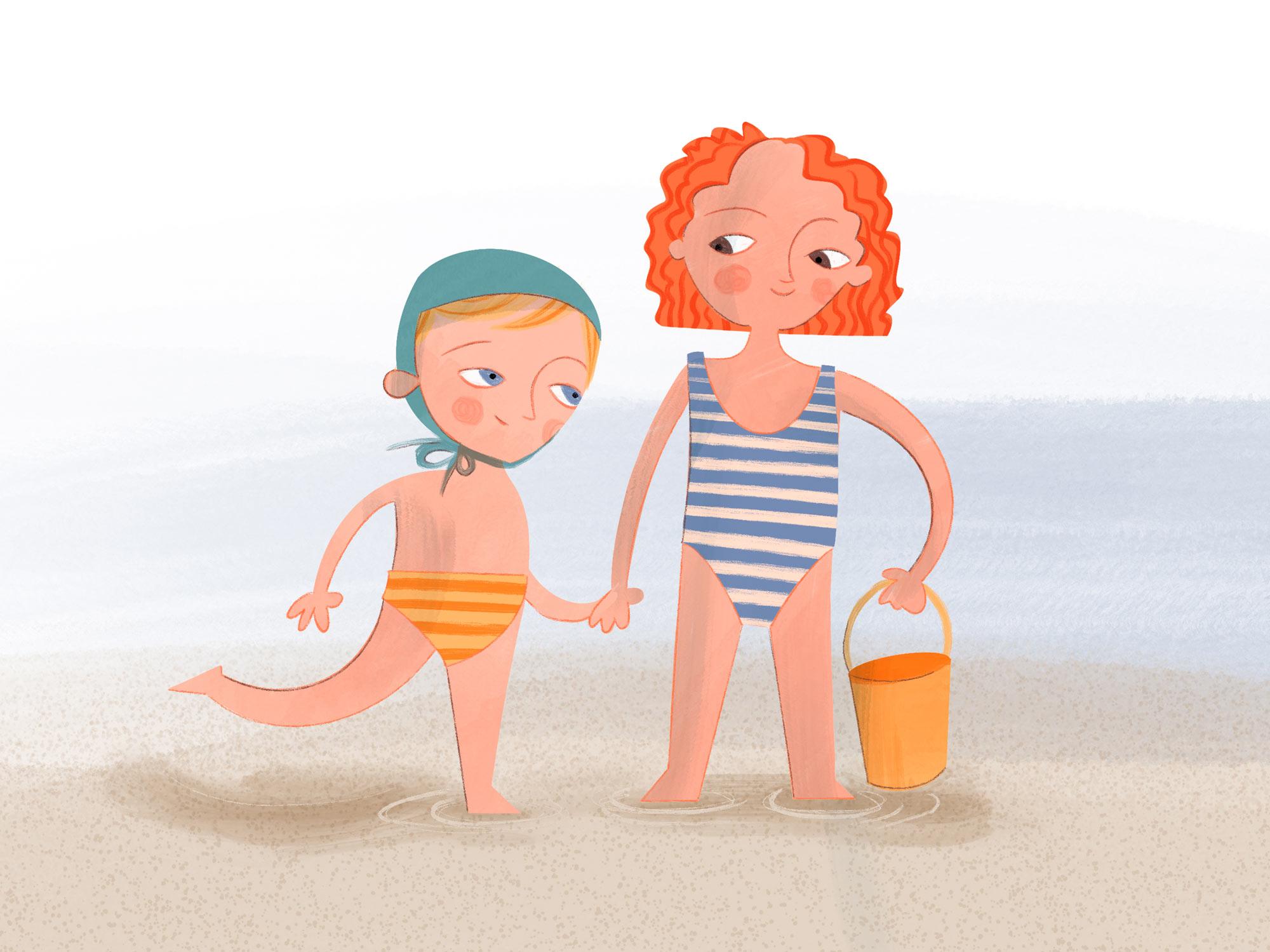 Zweikinder stehen am Strand, Hand in Hand mit einem Sandeimer