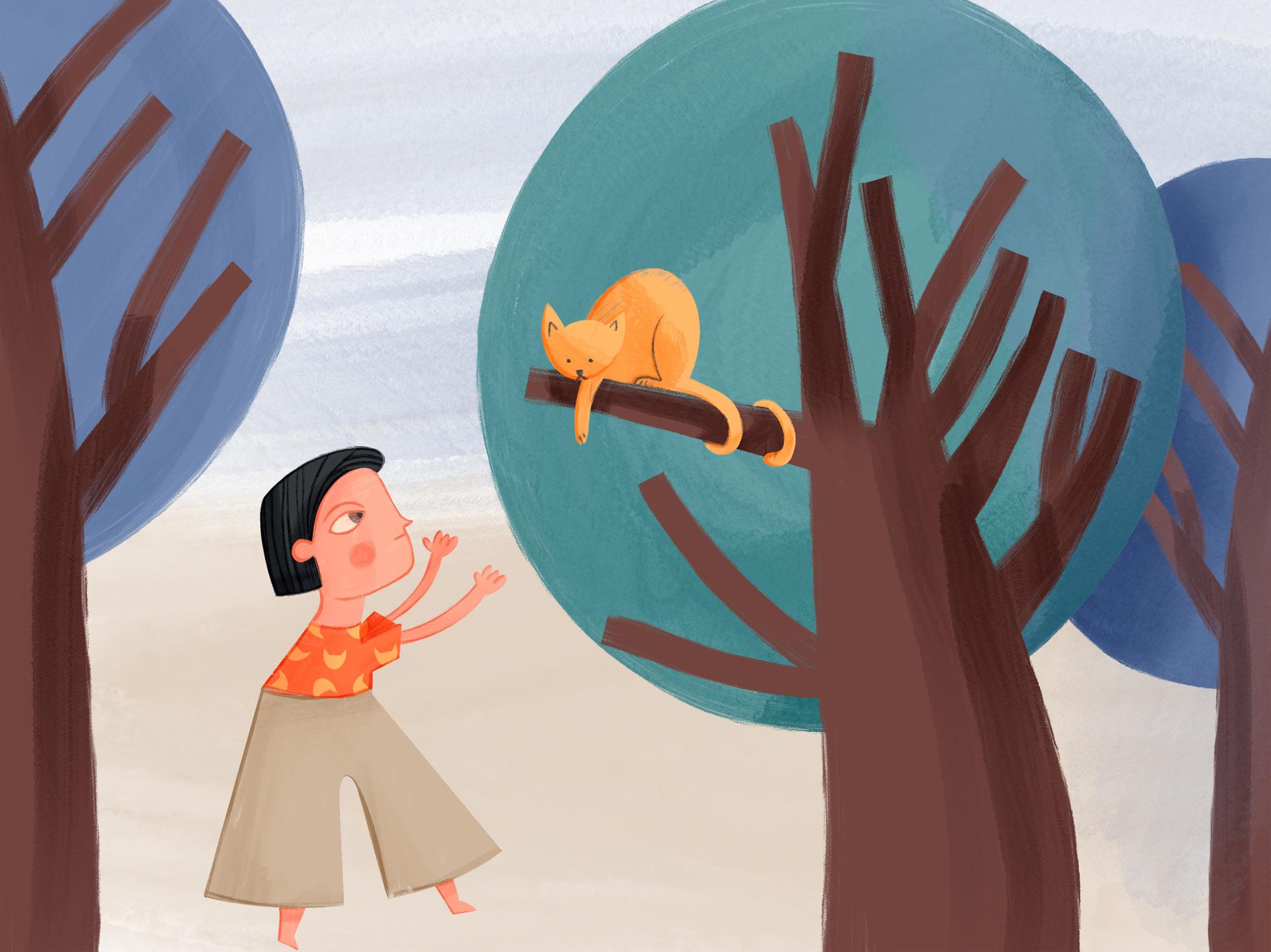 Eine Katze sitzt auf einem Baum und unten steht ein Kind und versucht die Katze zum runter springen zu ermutigen