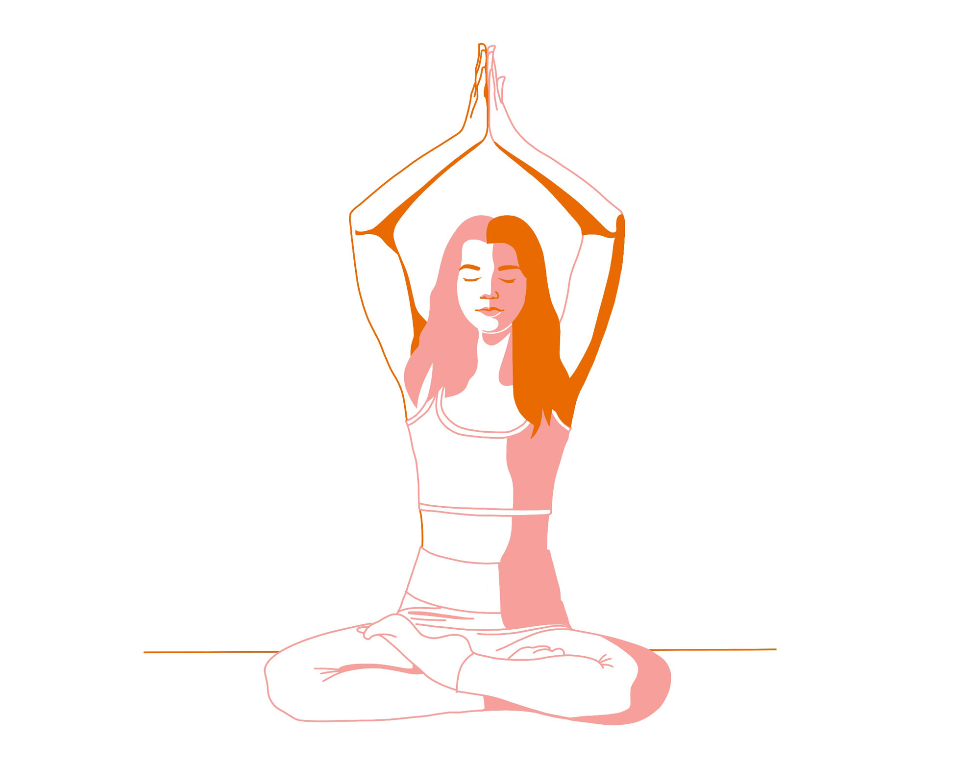 Illustration einer Frau, die eine Yogaübung macht