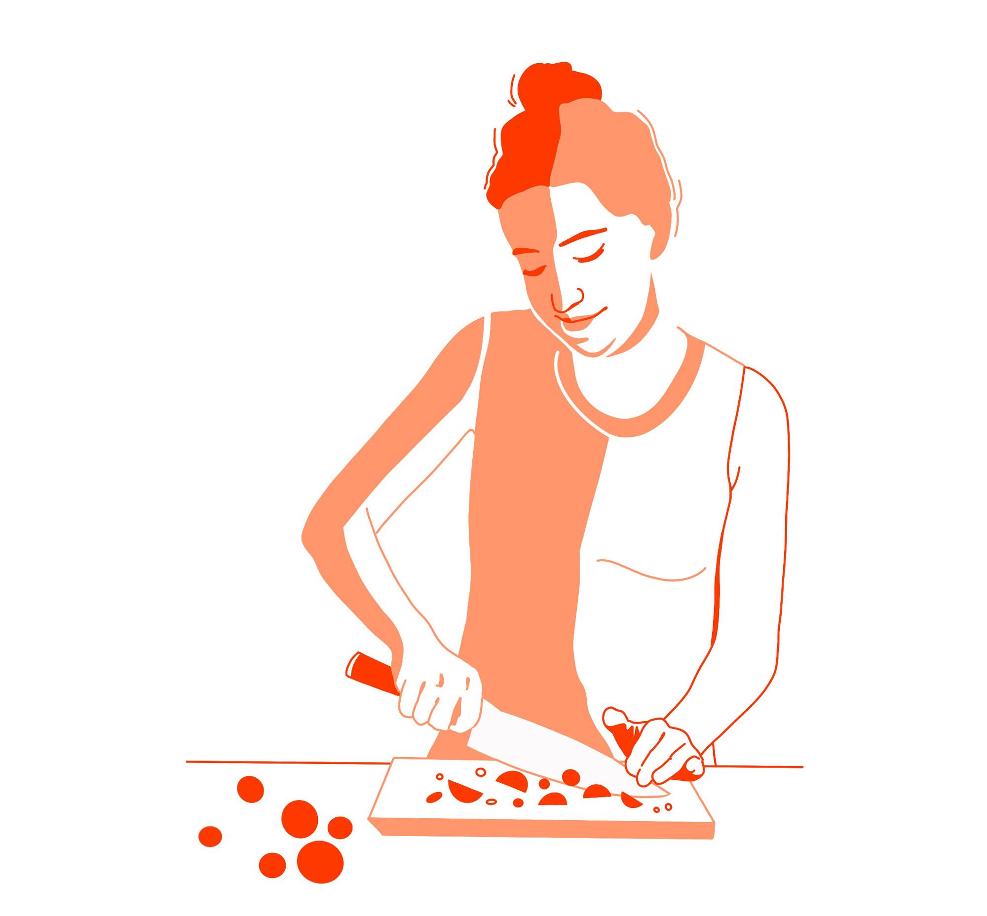 Eine Frau schneidet Gemüse mit einem Messer auf einem Schneidebrett