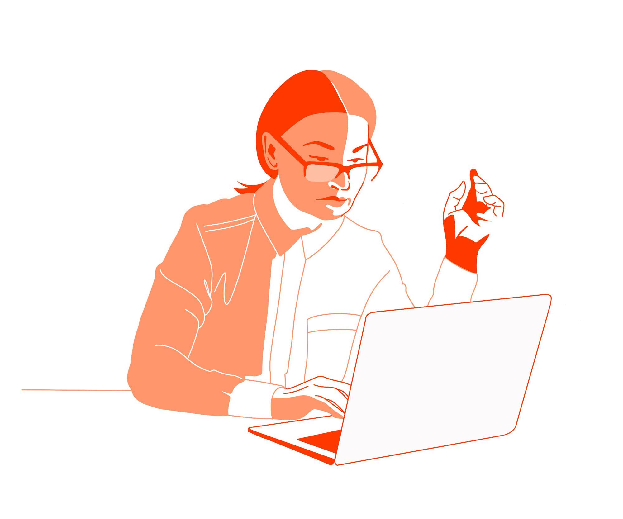Frau sitzt vor dem Laptop und tippt