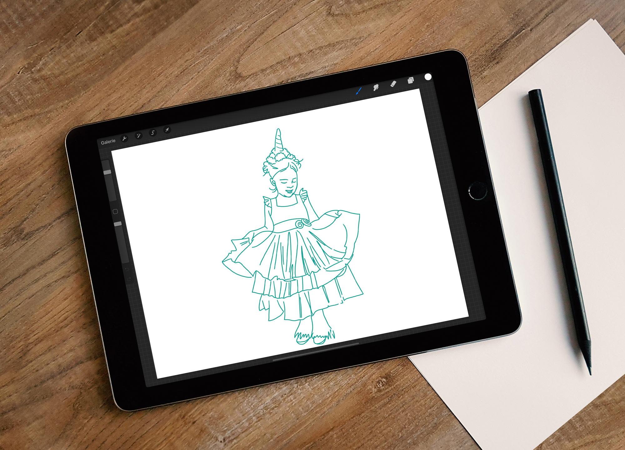 Zeichnung eines Mädchens im Einhornkostüm