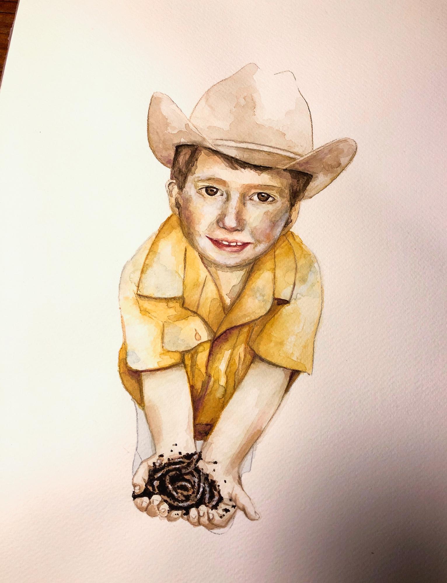Zu sehen ist ein Aquarell-Porträt eines kleinenJungen mit Cowboyhut und gelben Hemd. Erhält Regenwürmer in den Händen und guckt den Betrachter direkt an.