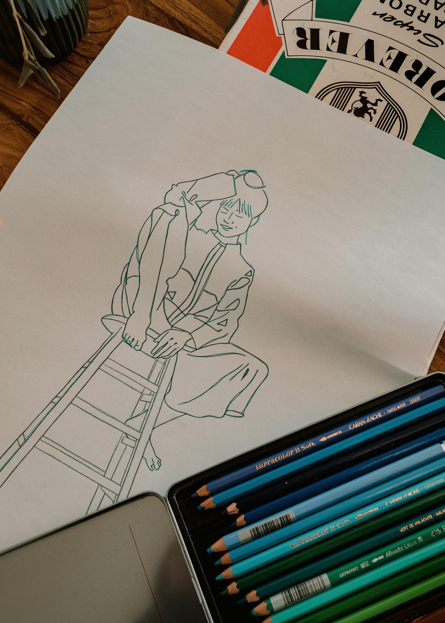 Zeichnung einer Porträtvorlage