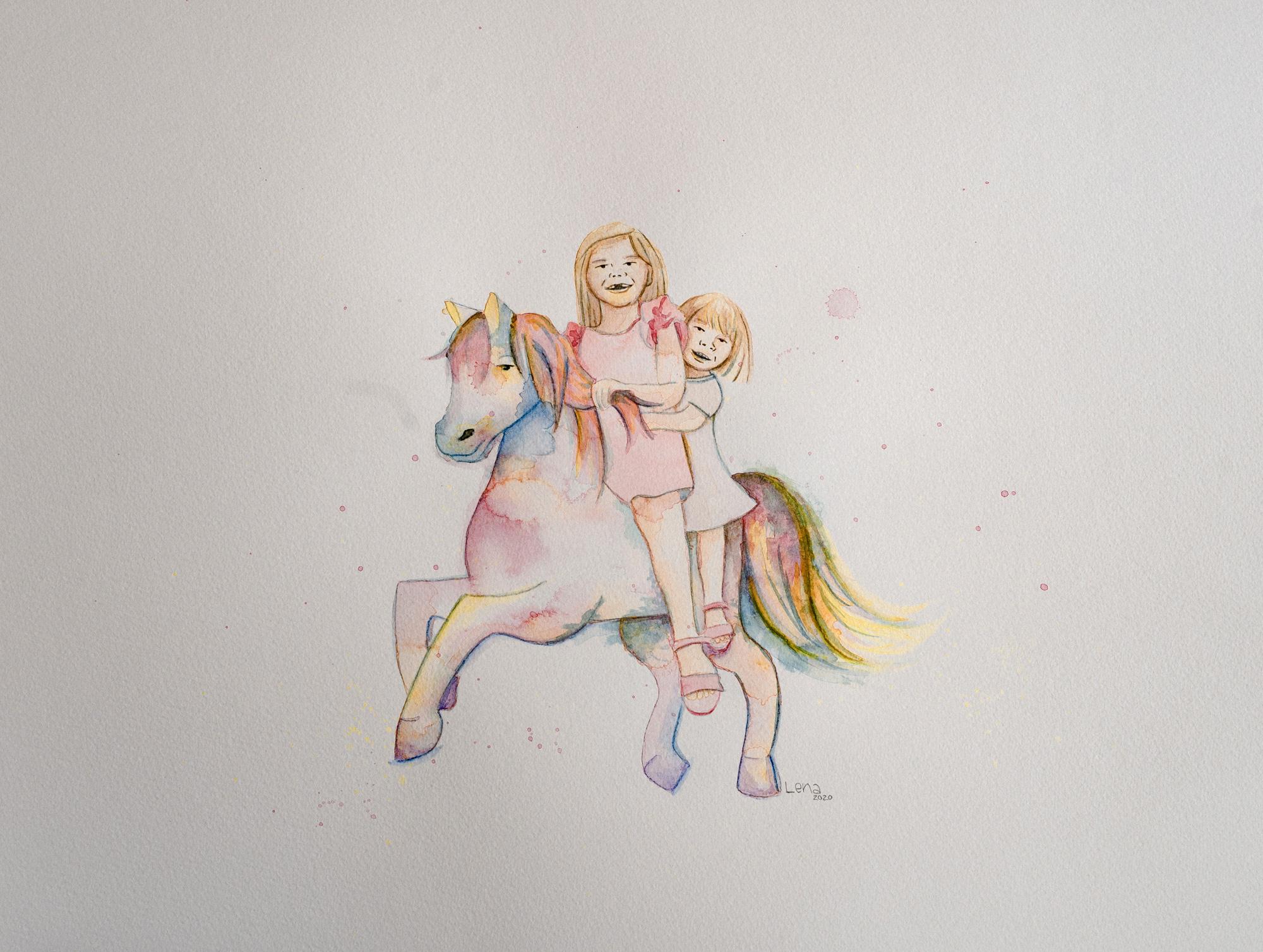 Aquarellbild, das zwei Kinder zeigt, die auf einem bunten Pferd reten.