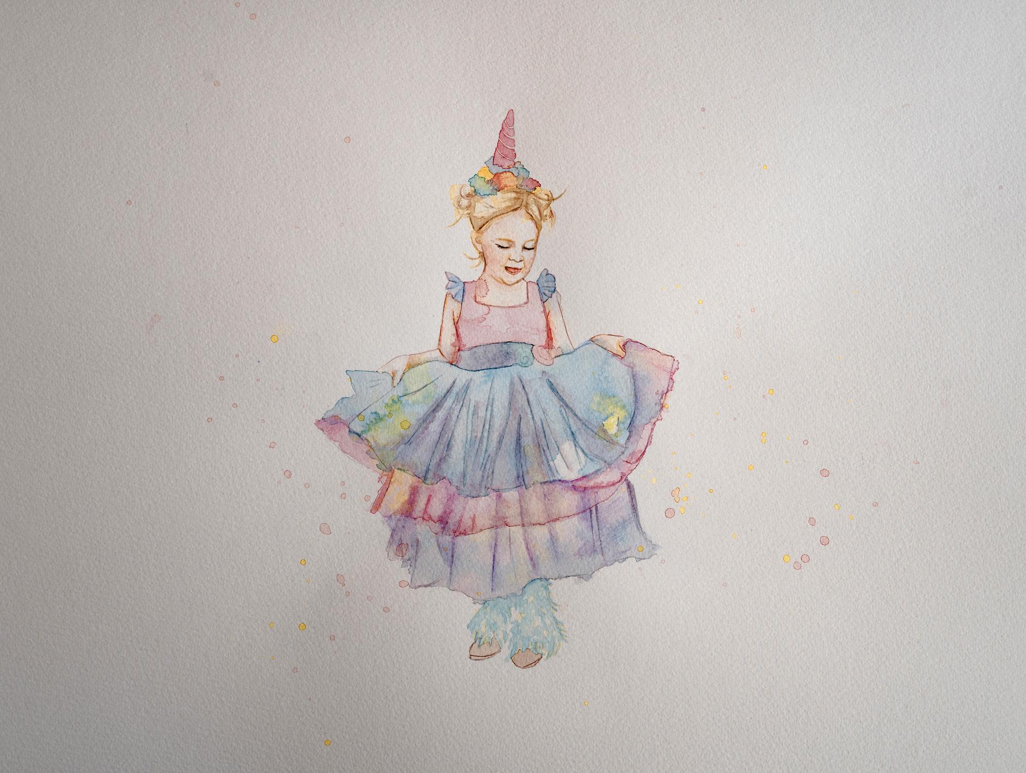 Aquarellbild eines Mädchens im Einhornkostüm
