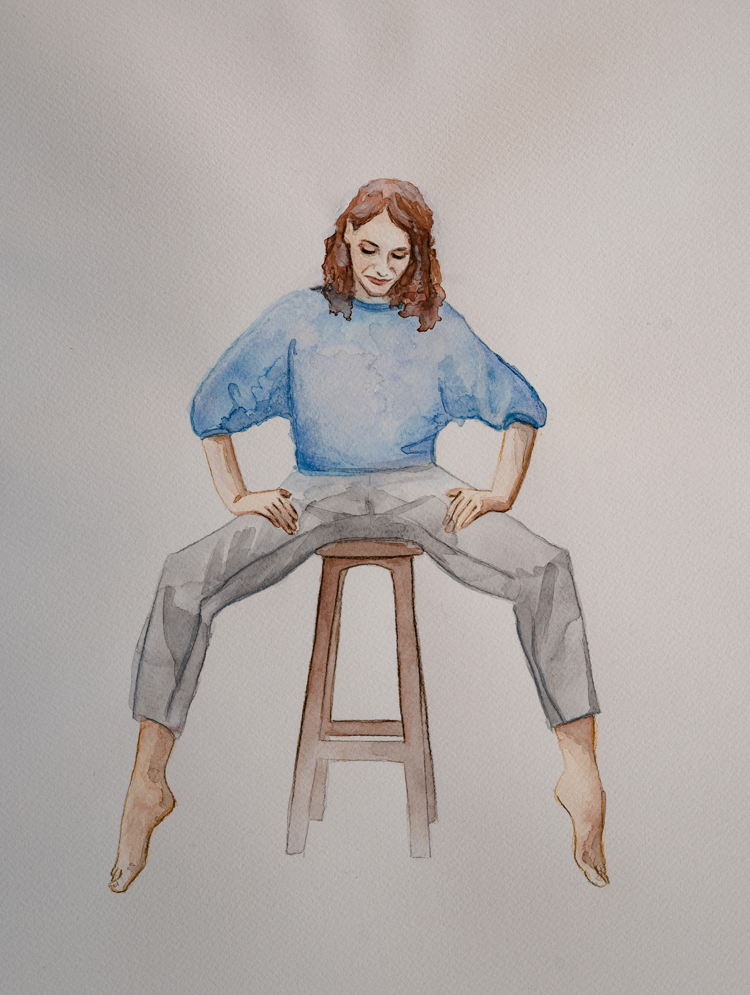 Aquarell-Porträt einer Frau mit blauem Pulli.